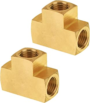 Gasher 5 Pcs Brass Tee Fitting 1//4 x 1//4 x 1//4 NPT Female Pipe Fittings