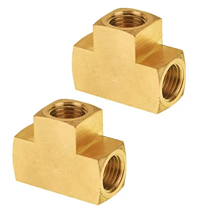 Solid Brass Street Pipe Tee 1//4/' NPT Male X 1//4/' NPT Two Female air fuel FST44RT