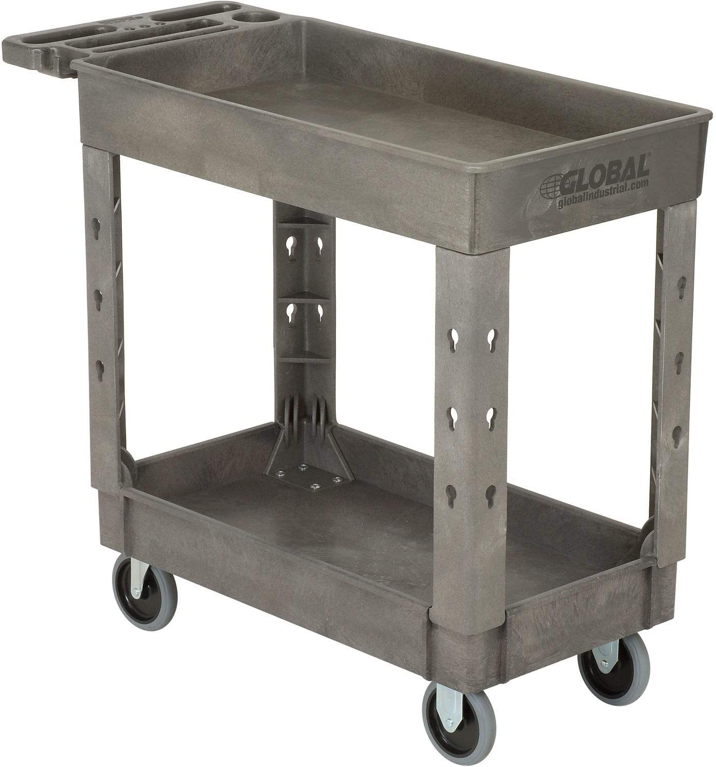 Plastic 2 Shelf Tray Service Utility Cart, 38 x 17-1 2 , 5 Rubber Casters, Lot of 1