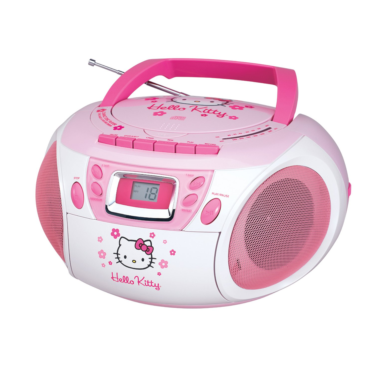 stereo hello kitty cd player boombox w cassette recorder. Black Bedroom Furniture Sets. Home Design Ideas