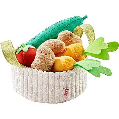 HABA Biofino Vegetable Basket - Soft Plush Pretend Play Food Includes Carrier, Cucumber, Tomato, 2 Carrots and 3 Potatoes for Ages 3+: Toys & Games