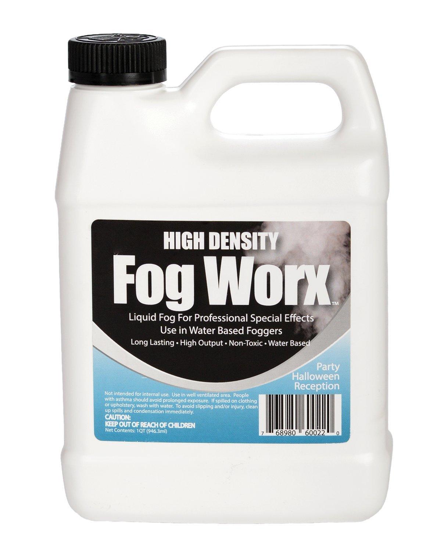 FogWorx Extreme High Density Fog Juice - Long Lasting, High Output, Odorless Water Based Fog Machine Fluid - 1 Quart, 32 ounces for 400 Watt to 1500 Watt Machines