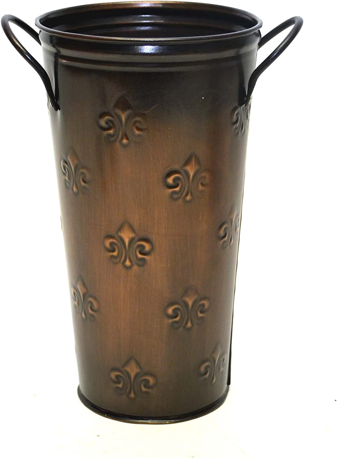French Flower Bucket, Copperized Tin, Fleur De Lis Pattern-10 Inches High X 5.5 Inches Diameter