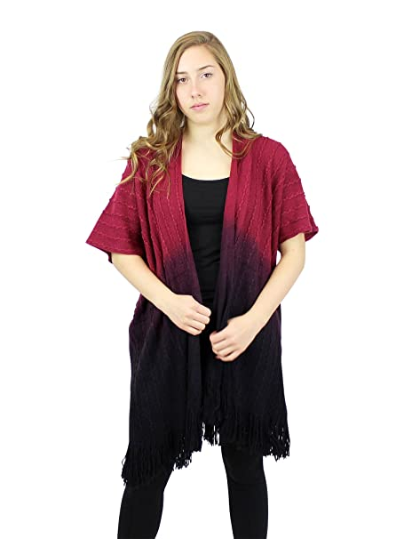 4504c46fef Short Sleeve Knitted Long Cardigan with Tassels Burgundy Black at ...