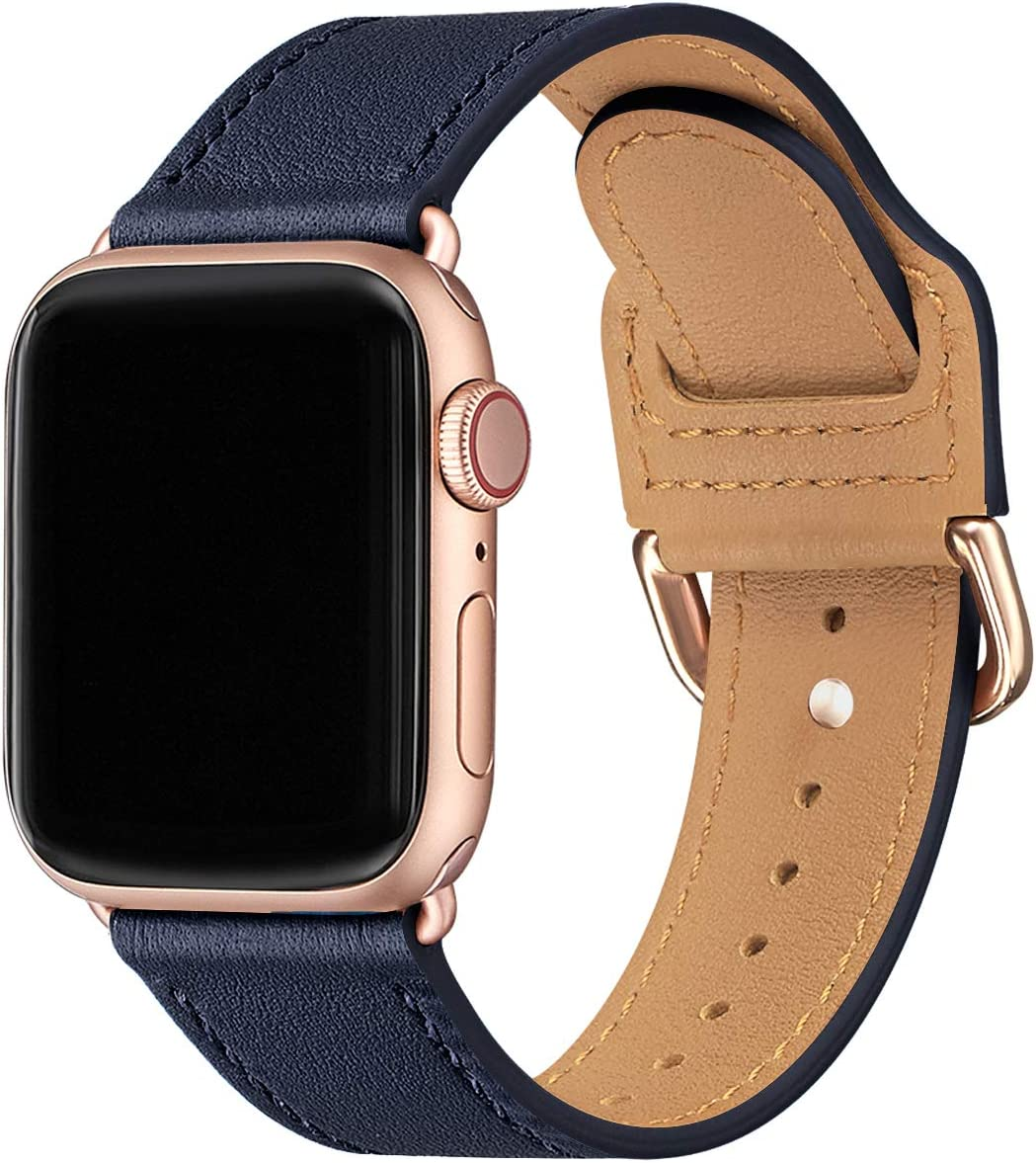 POWER PRIMACY Bands Compatible with Apple Watch Band 38mm 40mm 42mm 44mm, Top Grain Leather Smart Watch Strap Compatible for Men Women iWatch Series 6 5 4 3 2 1,SE (Jewelry Blue/Rosegold, 38mm/40mm)