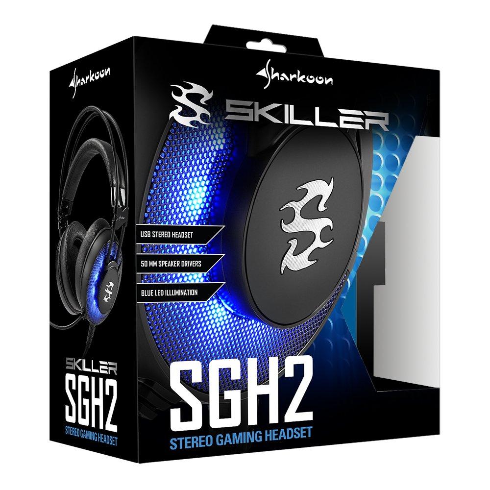 Sharkoon SGH2 - Auriculares Gaming con Cable, Estéreo, Micrófono, Negro/Azul: Amazon.es: Informática
