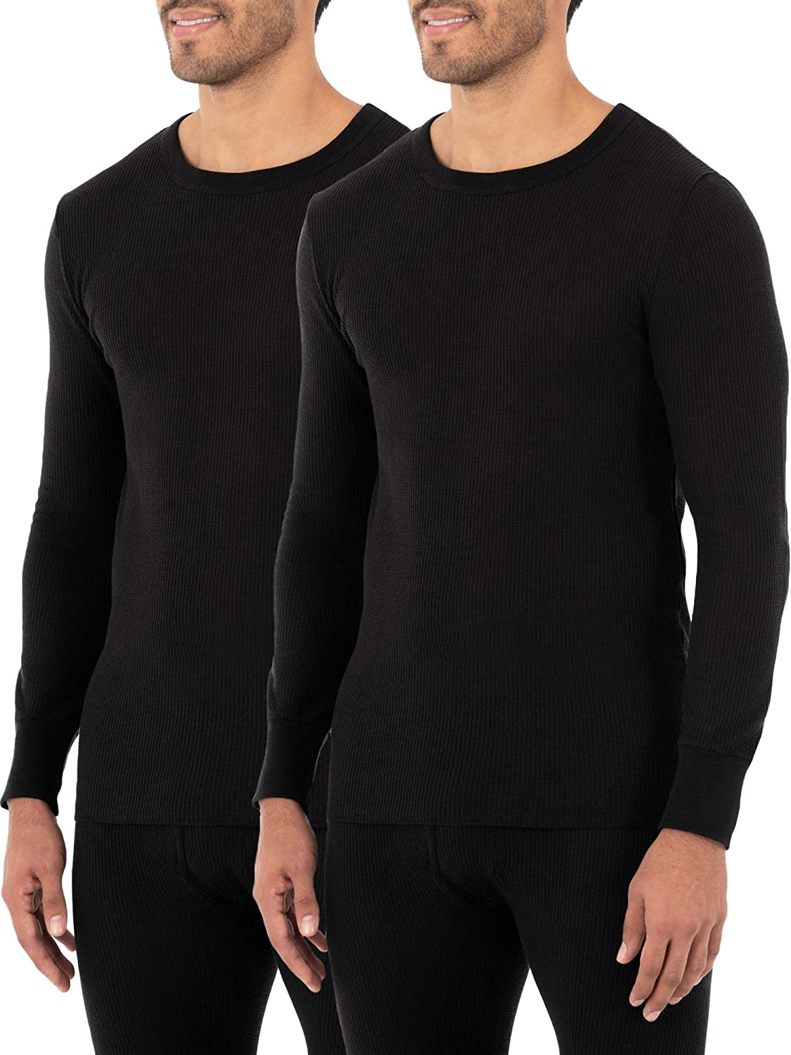 Fruit of the Loom Men's Classic Midweight Waffle Thermal Underwear Crew Top at  Men's Clothing store