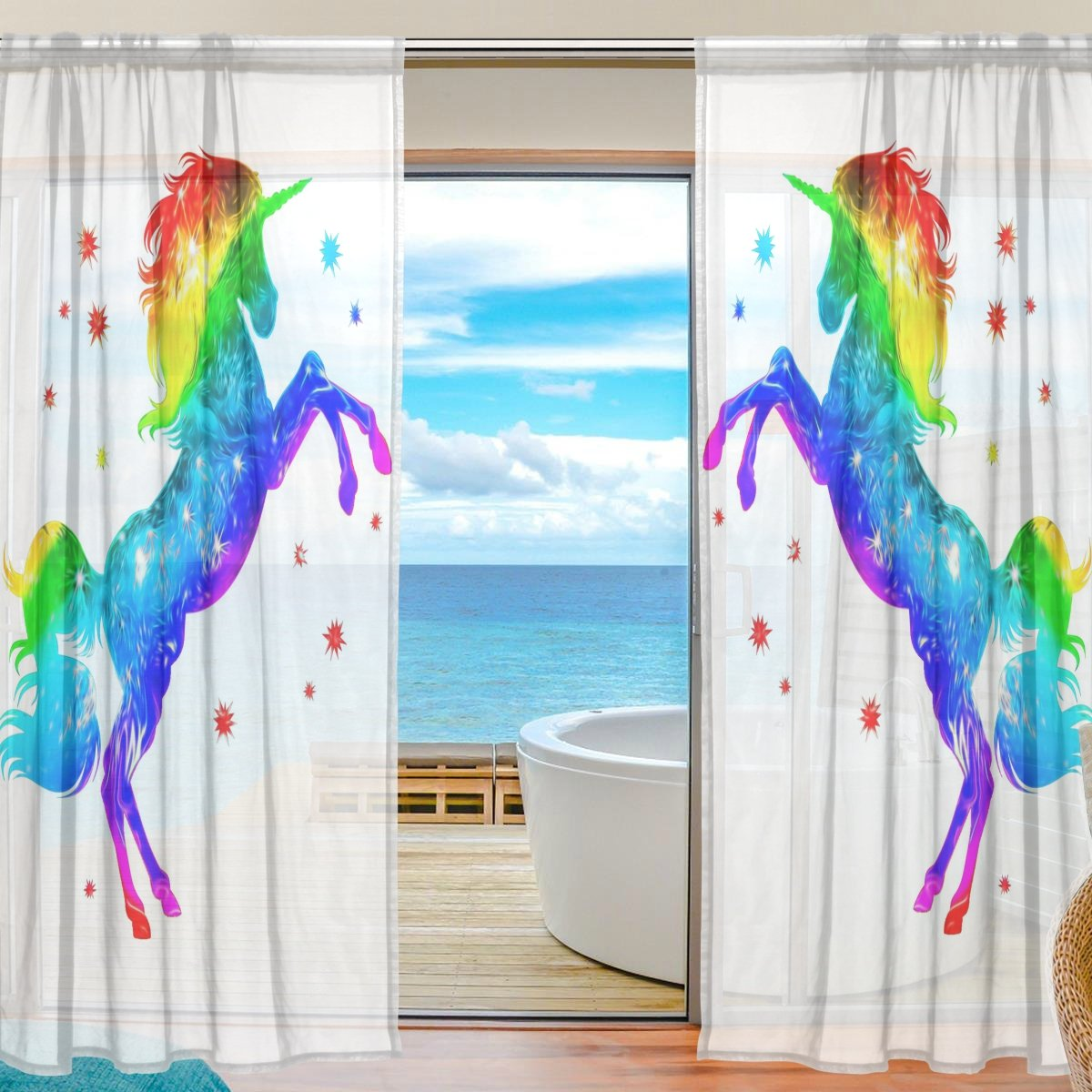 SEULIFE Window Sheer Curtain, Rainbow Unicorn Animal Star Voile Curtain Drapes for Door Kitchen Living Room Bedroom 55x84 inches 2 Panels