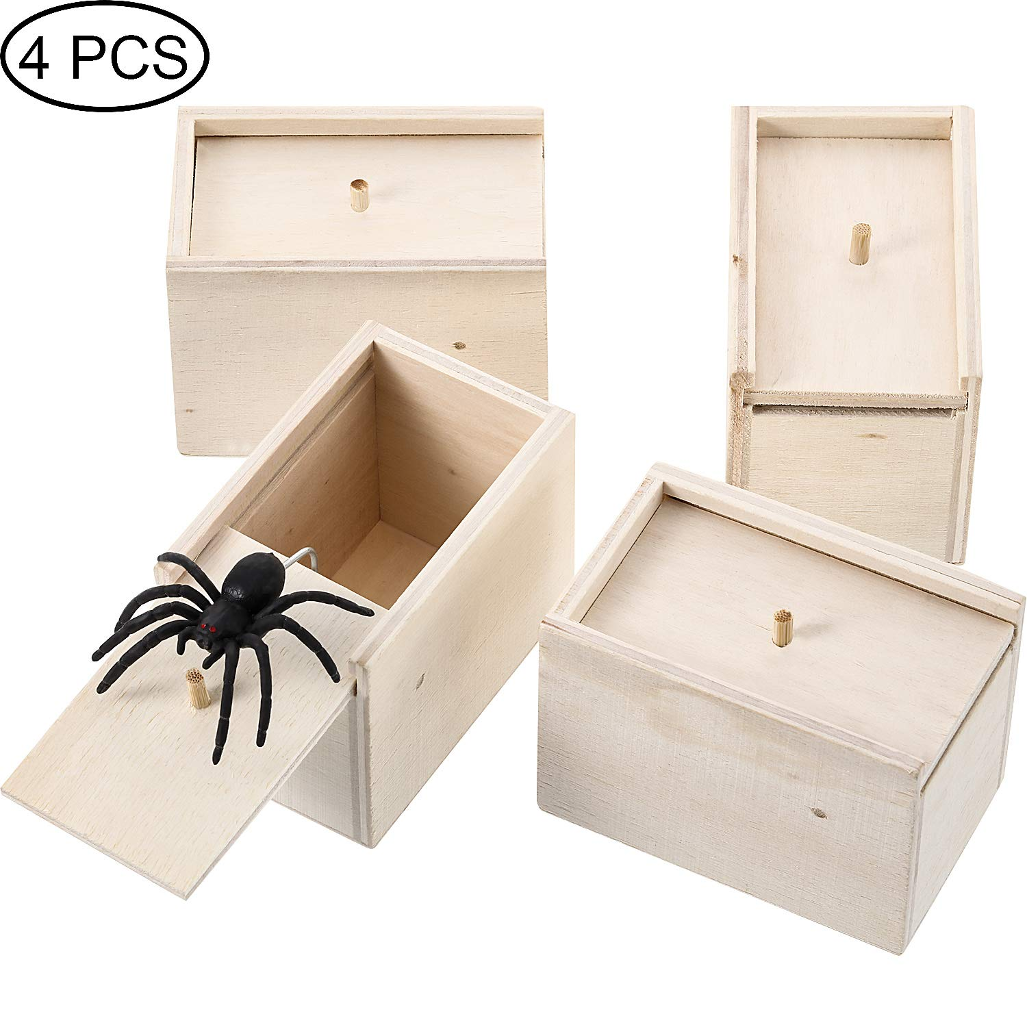 4 Pieces Spider Prank Scare Box, Wooden Surprise Box, Practical Handmade Fun Surprise Joke Boxes by Boao