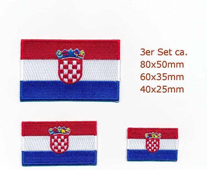 3 Kroatien Flaggen Südosteuropa Zagreb Aufnäher Aufbügler Patch Set 0929 Auto