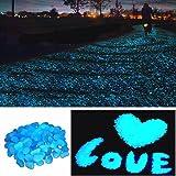 StillCool 100pcs Glow in the Dark Garden Pebbles for Walkways Plants Fish Tank Decor Luminous Stones (Sky Blue)