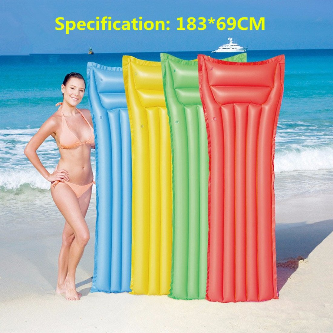 Yukey 1Pc New Float Inflatable Swimming Pool Raft Mat Water Air Floating Lounge Bed for Kids and Adult