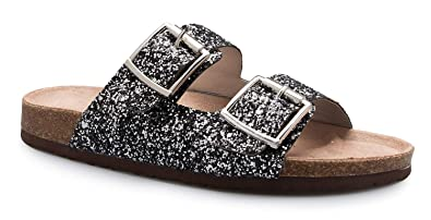 8f745611871e Image Unavailable. Image not available for. Color: OLIVIA K Women's Summer Open  Toe Double Buckle Strap Fashion Cozy Footbed Flat Sandals