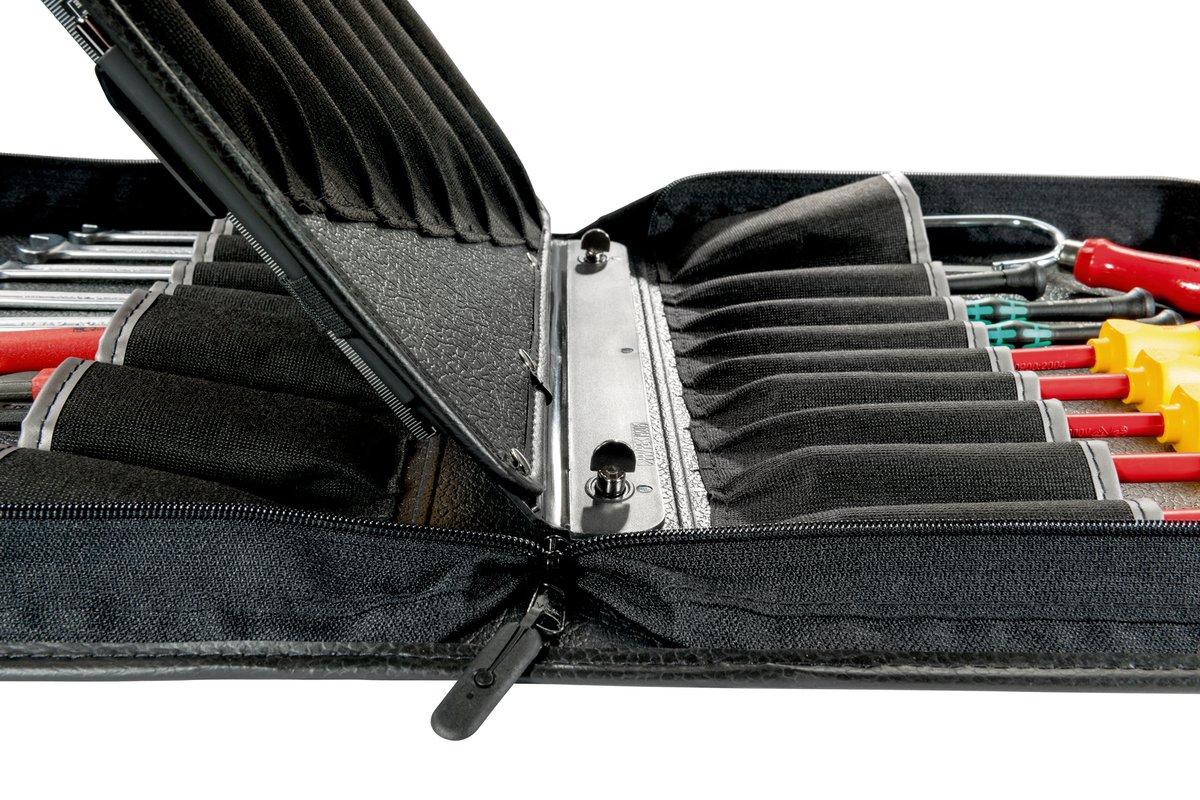 color negro Parat 5650.040-061 Estuche para herramientas tama/ño grande extra/íble, compartimento central