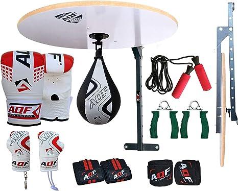 AQF 14 PC Boxing Speed Ball Heavy Platform MMA Maya Hide Leather Punching Bag Stand Workout Training