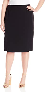 Kasper Womens Plus Size Stretch Crepe Skimmer Skirt