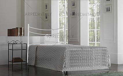Cama de una Plaza y Media de Hierro Color Blanco con Cama ...