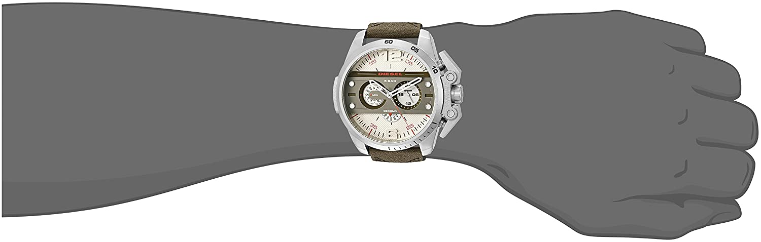 Image result for Diesel DZ4389 'Ironside' Quartz Stainless Steel and Green Leather Watch