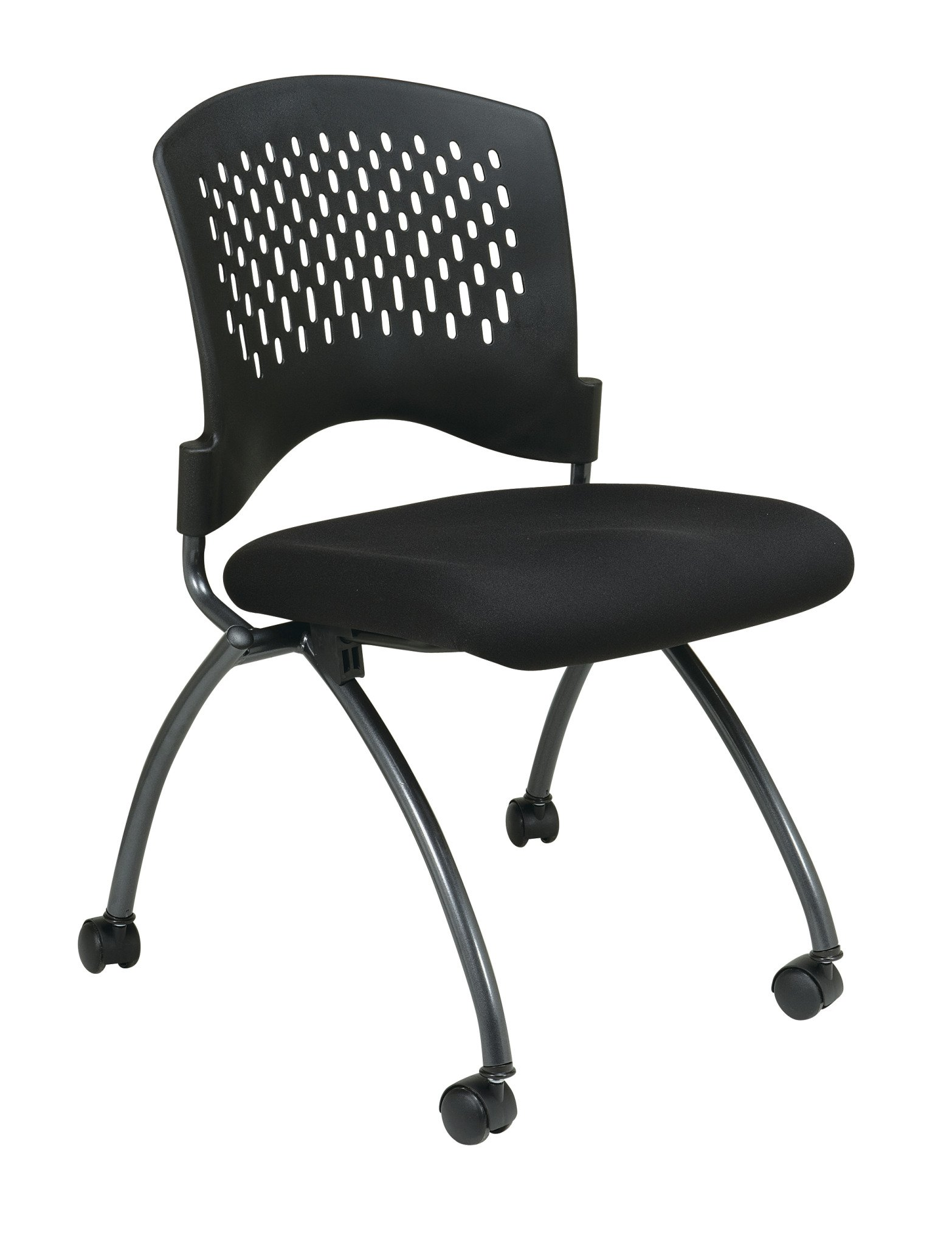 Office Star Deluxe Ventilated Plastic Back FreeFlex Coal Seat Armless Folding Chair with Casters, 2-Pack, Titanium Finish by Office Star