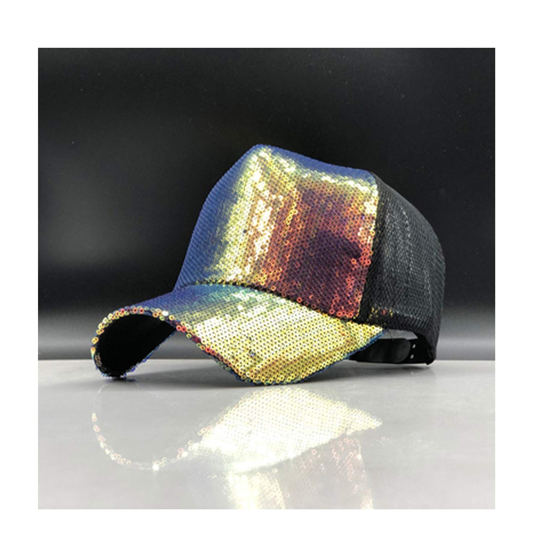 Rainbow Sequins Bling Shinning Mesh Baseball Cap Striking Pretty Adjustable Women Girls Hats