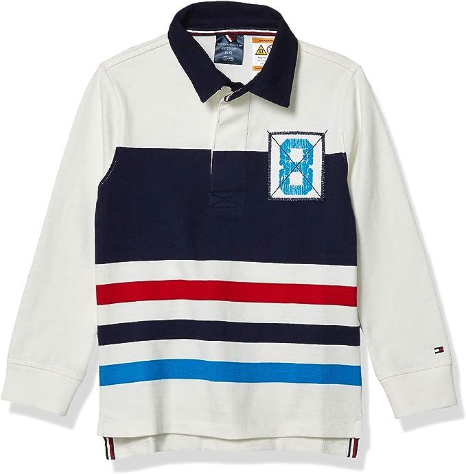 Tommy Hilfiger - Camiseta de rugby adaptativa para niño con botones magnéticos - - X-Small: Amazon.es: Ropa y accesorios