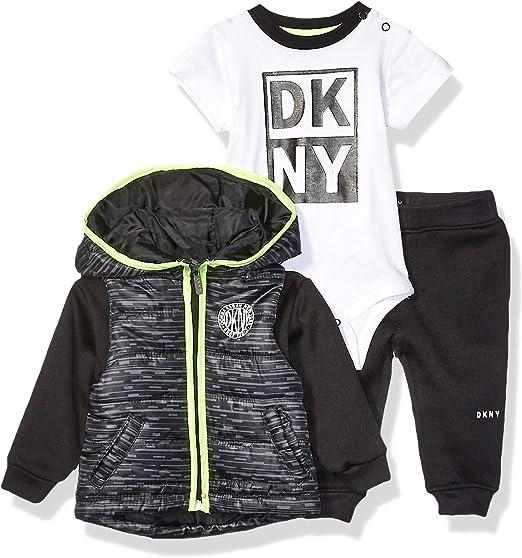 6 DKNY Boys Little 3 Piece Set All Over Logo Dress Blues