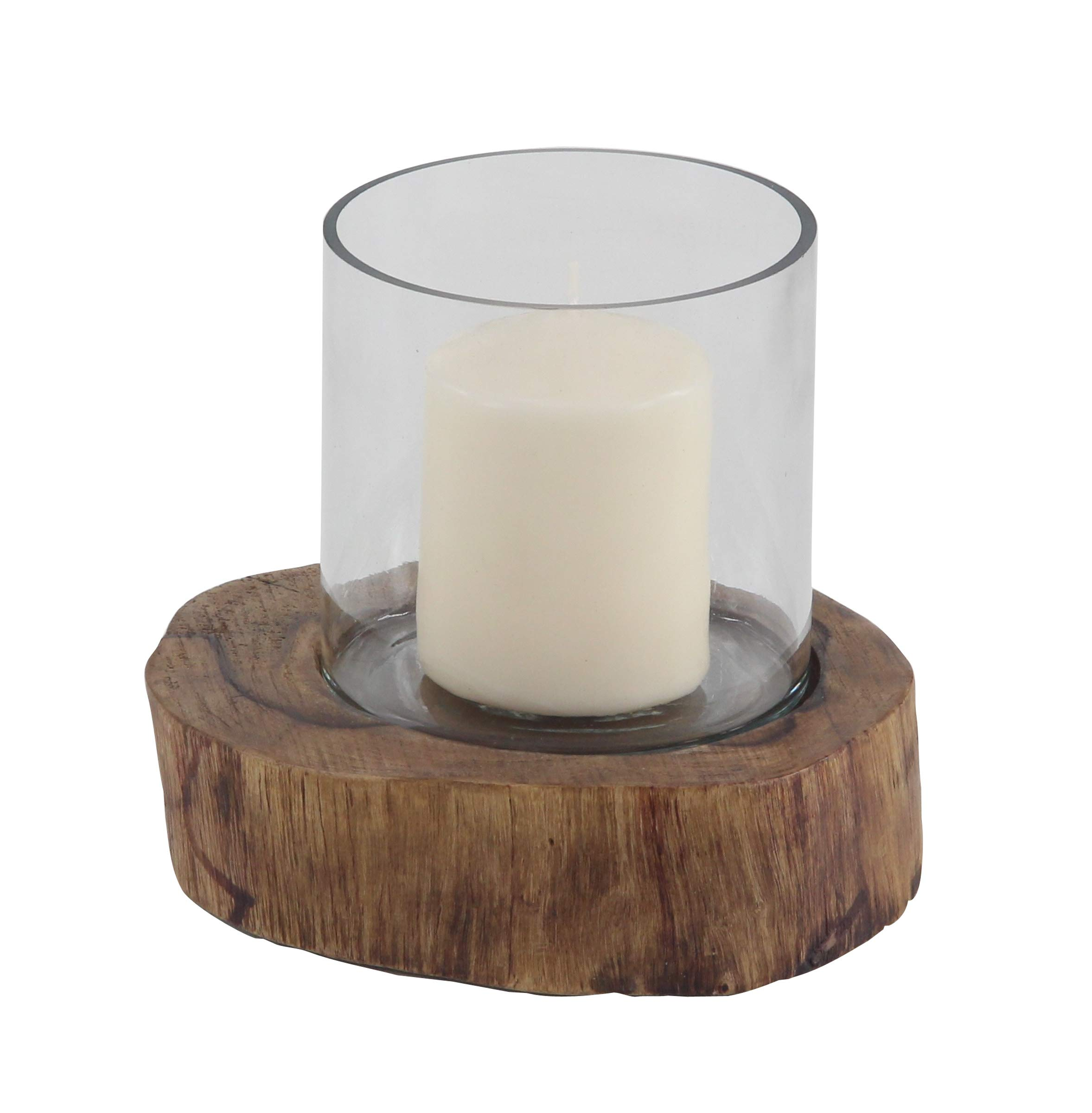 Deco 79 72943 Rustic Glass Candle Holder with Wooden Base, 6'' W x 6'' H, Brown, Clear