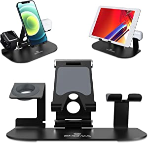 Stand for Apple Watch, [Update Foldable Stand Version]3 in 1 Adjustable Universal Charger Stand Dock for iPhone 12 Pro Max/11/X/XS/8/7/6 Plus, AirPods, iPad, Kindle and iWatch Series 6/5/4/3/2/1,Black