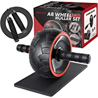 MOVTOTOP 3-in-1 Ab Wheel Roller with Knee Mat and Jump Rope, Fitness Ab Roller Wheel for Abdominal Exercises Abs Workout…