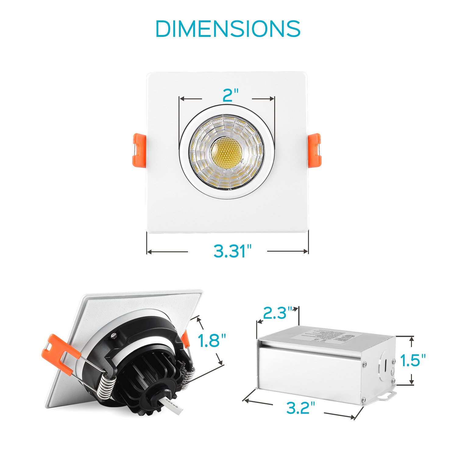 Damp Location Luxrite 3 Inch Gimbal LED Square Recessed Light with Junction Box Dimmable Downlight 8W 3000K Soft White Energy Star /& IC Rated 600 Lumens Adjustable Recessed Lighting