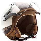 SOXON SP-325-URBAN Creme · Vespa Bobber Biker Mofa Demi-Jet Moto Casque Jet Retro Scooter Helmet Vintage Pilot Chopper Cruiser · ECE certifiés · conception en cuir · visière inclus · y compris le sac de casque · Beige · S (55-56cm)