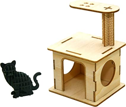 Team Green Jigzle Paper 2mm Plywood Wooden 3d Puzzle For Teens And Adults Mechanical Models Kits Cat Playground With Paper Sitting Cat Toys Games
