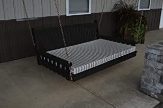 product image for DutchCrafters Amish Pine Wood Fanback Swing Bed (Black, 5')