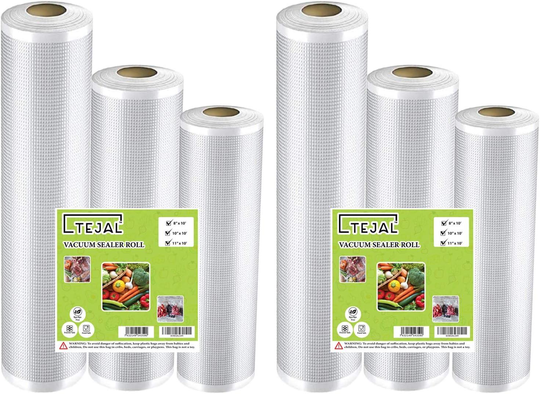 """Vacuum Sealer Bags for Food Saver Vacuum Sealer Bags Rolls 2x (8"""" x 10', 10"""" x 10', 11"""" x 10') 6 Pack Vacuum Seal Bags for Food Fit TEJAL Vacuum Sealer Sous Vide Bags Food Storage Bag Roll Vac Storage"""