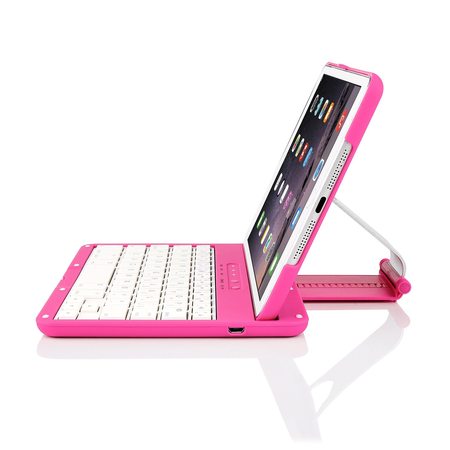 iNNEXT Aluminum 360 Swivel Rotating Stand Case Cover Built-in Bluetooth Keyboard for ipad Mini 1 2 3 with Retina Display (Hot Pink) by iNNEXT (Image #4)