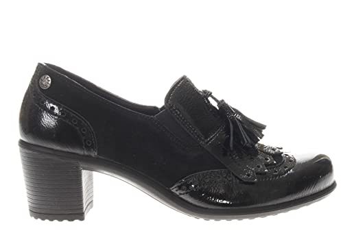new arrival d4879 ea4cc ENVAL SOFT 8931 NERO Scarpa donna tacco francesina pelle made in Italy