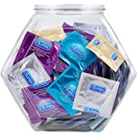 Durex Condom Variety Fish Bowl 144 Count,  of Natural Latex Bulk Condoms, Variety of extra lubricated, ultra fine, dotted, and large male condoms