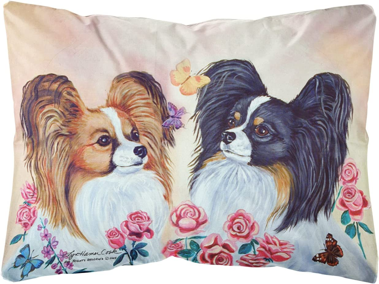 Caroline s Treasures 7272PW1216 Papillon Decorative Canvas Fabric Pillow, 12H x16W, Multicolor