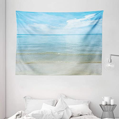 Ambesonne Ocean Tapestry, Sunny Summer Day at The Sandy Beach Tranquil Calm Shore Sea Horizon Image Artprint, Wide Wall Hanging for Bedroom Living Room Dorm, 80 X 60 , Blue Cream