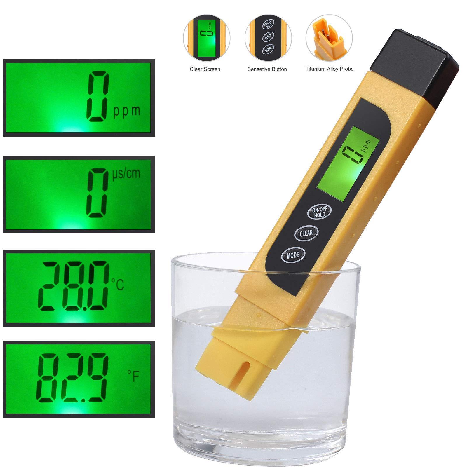 Water Quality Tester, TDS Meter, EC Meter & Temperature Meter 3 in 1, 0-9990ppm, Ideal Water Test Meter Drinking Water, Aquariums, etc.