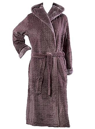 1f42aa4163 Slenderella Ladies Faux Fur Hooded Dressing Gown Super Soft Shawl Collar  Bath Robe Small (Taupe