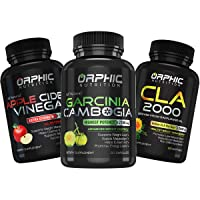 Garcinia Cambogia Extract, Apple Cider Vinegar & CLA Safflower Oil - Appetite Suppressant with Carb Assistance - Supports Detox, Weight Management & Digestion - Helps in Bloating & Stimulating