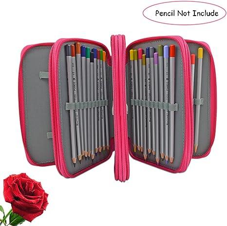 URBEST Estuche de Lápices de Pintura con Cremallera 72 Soporte Art Pen Case Protección Lona Dibujo Case: Amazon.es: Juguetes y juegos