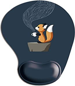Cute Fox Drinking a Cup of Tea Memory Foam Mouse pad with Wrist Support Interesting Unique Design Gaming Mouse Pad
