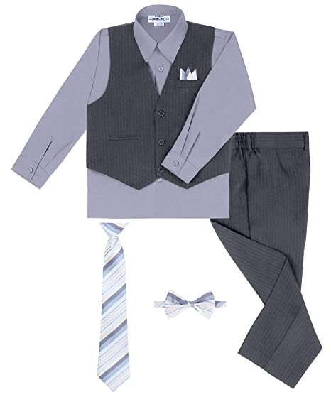 Many Colors Tie and Hanky Rafael Boys 5-Piece Vest and Pant Set with Shirt