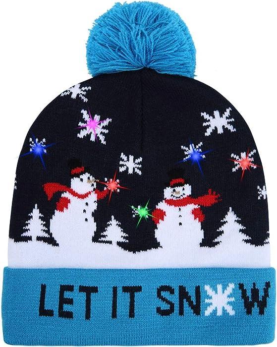 beb108eabab51 ... Party Beanie Cap. W-plus Ugly LED Christmas Hat Novelty Colorful Light-up  Stylish Knitted Sweater Xmas