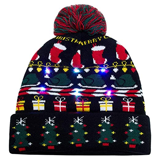 Uideazone Light Up Holiday Cap Christmas Tree Pattern X-Mas Hat with LED  Lights 85e57e8f4651