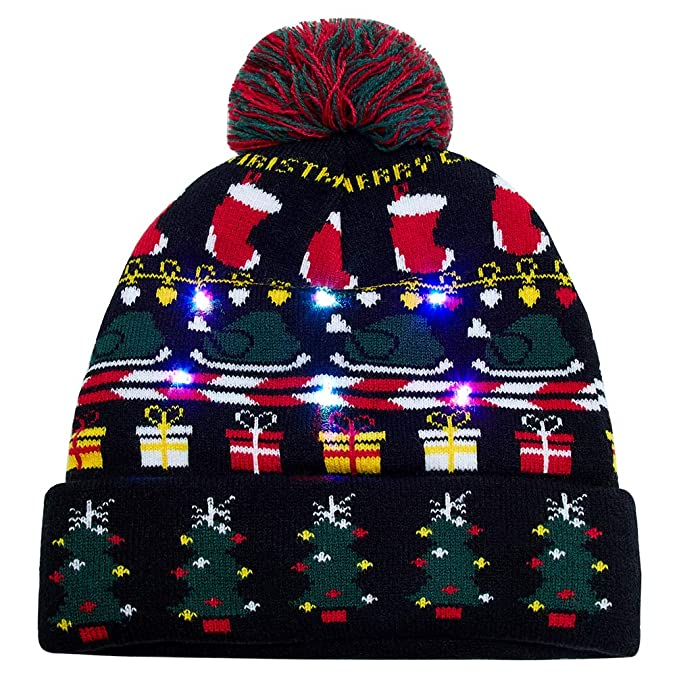 38312d407c283 Uideazone Light Up Holiday Cap Christmas Tree Pattern X-Mas Hat with LED  Lights