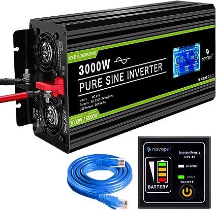 novopal - Inversor de energía de Onda sinusoidal Pura 3000W 24V CC a 230V / 240V CA convertidor de Pantalla LCD 2 Salidas AC inversor de Coche con un Puerto USB Control Remoto de 5 Metros