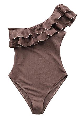 534c62bd2c CUPSHE Women s Solid Coffee One Shoulder Falbala One-Piece Swimsuit  Swimwear Bathing Suit